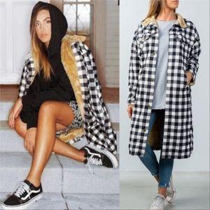 Plaid Fur Lined Coat